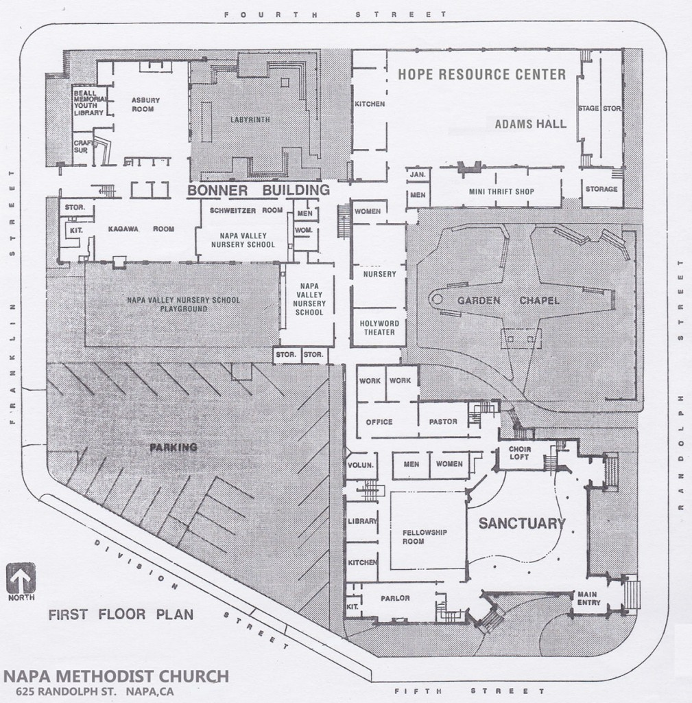 Napa Methodist Church Campus Map - First Floor