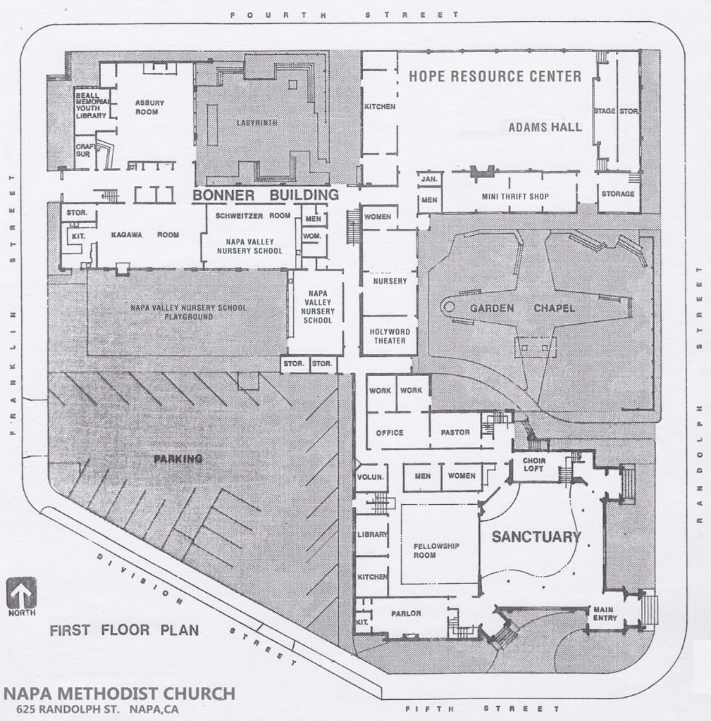 Napa Methodist Church Campus Map - First Floor