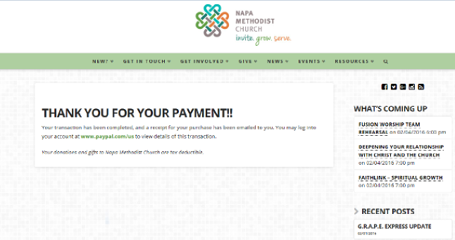 Online Giving Payment Complete