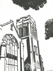 Napa Methodist Church woodcut by Steve Weeks